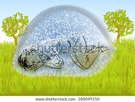 depression. woman on a green meadow under the snow - stock vector