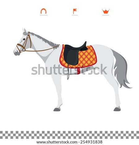 Derby. Equestrian sport. Illustration of horse. Vector. Thoroughbred horse. The Sport of Kings. Horse with Saddle - stock vector
