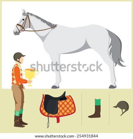 Derby. Equestrian sport. Vector Illustration of horse. Thoroughbred horse. The Sport of Kings. Horse with  Horseman and Saddle - stock vector