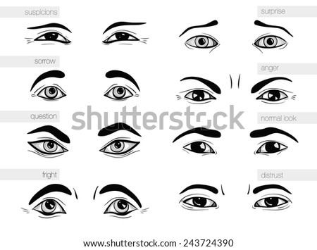 description of human emotions in his eyes - stock vector