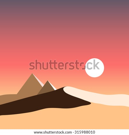desert and the pyramids, vector desert, Egypt, sunrise in desert, sunset in desert - stock vector