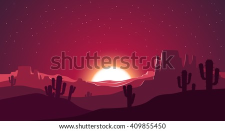 Desert at sunset illustration - stock vector