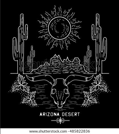 Desert Cactus Sunset Arizona Vector Illustration Black Stock Vector
