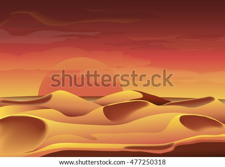 Desert dunes and stones on the sand