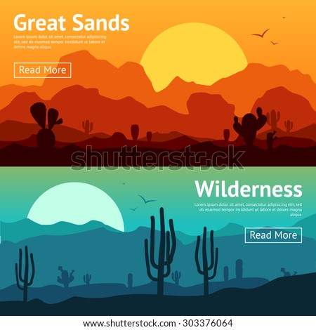 Desert horizontal banner set with cactus plants isolated vector illustration - stock vector