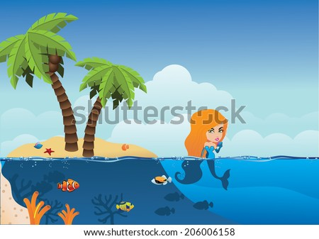 Desert Island and mermaid background. EPS 10 vector, grouped for easy editing. No open shapes or paths. - stock vector