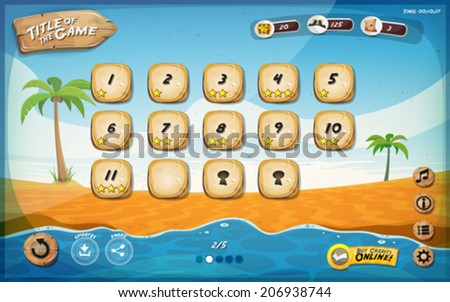 Desert Island Game User Interface Design For Tablet/ Illustration of a funny summer tropical beach graphic game user interface background, in cartoon style with basic buttons, for wide screen tablet - stock vector
