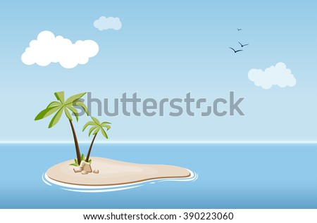 Desert island with palm trees in the sea under a blue sky with clouds - vector illustration - stock vector