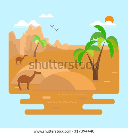 Desert landscape with dunes, palm trees and camels with mountains in the background.Vector illustration in flat style. - stock vector