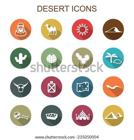 desert long shadow icons, flat vector symbols - stock vector