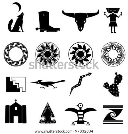Desert Southwest Icons - stock vector