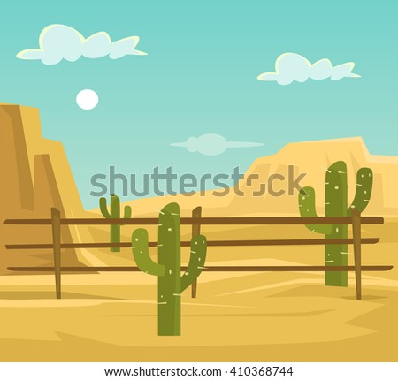 Desert. Vector flat cartoon illustration - stock vector
