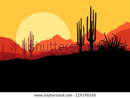 Desert wild nature landscape with cactus and palm tree plants illustration background vector - stock vector