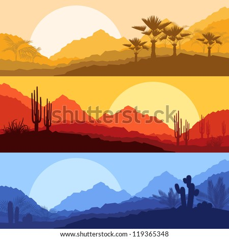 Desert wild nature landscapes with cactus and palm tree plants illustration collection background vector - stock vector