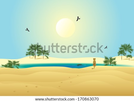 Desert. Wildlife, desert and lake with palm trees, blue sky, sun and bird, sitting on the shore of a tiger. - stock vector