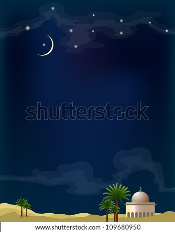 desert with mosque and palm tree on dark blue background - stock vector