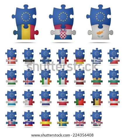 design a puzzle pieces flag europe  - stock vector