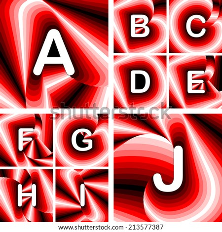 Design ABC letters from A to J. Strip twisting lines twisted textured font. Vector-art illustration. No gradient