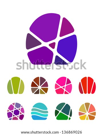 Design abstract egg logo element. Crushing oval pattern. Colorful vector icons set.