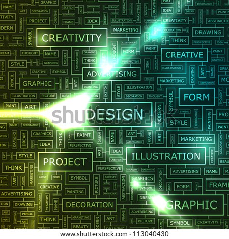 DESIGN. Abstract vector background. Word cloud association concept for business. - stock vector
