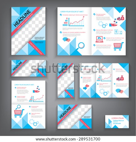Design Abstract Vector Brochure Template. Flyer Layout, Flat Style, Banner, Infographic Elements in A3,A4,A5 size, Vectors EPS10. - stock vector