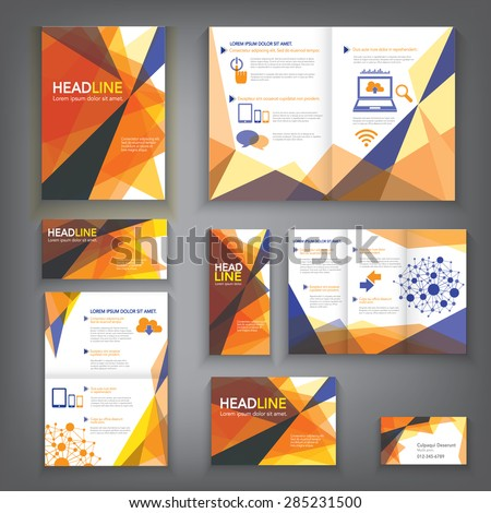 Design Abstract Vector Brochure Template. Flyer Layout, Flat Style, Business Card, Background, Infographic Elements in A3,A4,A5 size. - stock vector