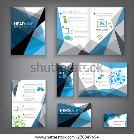 Design Abstract Vector Brochure Template. Flyer Layout, Flat Style, Infographic Elements in A3,A4,A5 size. - stock vector