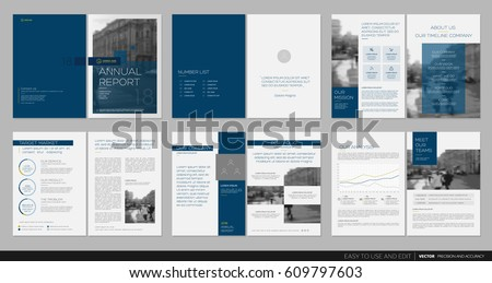 Design annual report, cover, vector template brochures, flyers, presentations, leaflet, magazine a4 size. Minimalistic abstract blue templates - stock vector