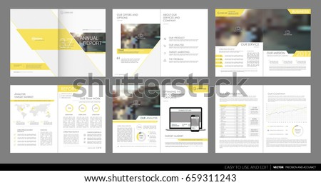 Design annual report, cover, vector template brochures, flyers, presentations, leaflet, magazine a4 size. Minimalistic abstract yellow templates - stock vector