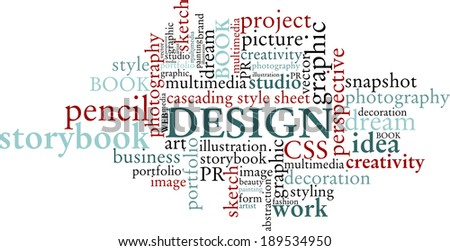 Design art word cloud concept on white background