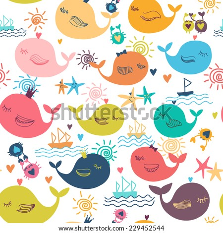 Design background texture with marine animals. Colorful whale Illustration  Vector illustration with sun, whale, starfish, ship, crabs and waves - stock vector