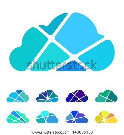 Design blue cloud logo element. Crushing abstract pattern. Colorful icons set. - stock vector