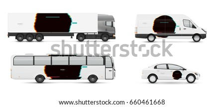 Design branding vehicles for advertising and corporate identity. Mock up for transport. Passenger car, bus and van. Graphics elements with distorted glitch style.