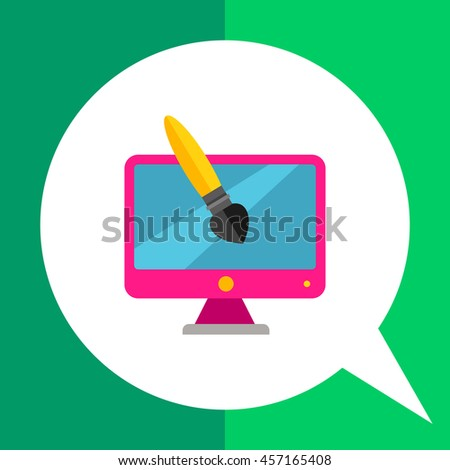 Design Brush and Computer Icon - stock vector