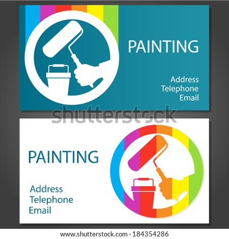Design business cards painting business vector stock vector design business cards for painting business vector colourmoves