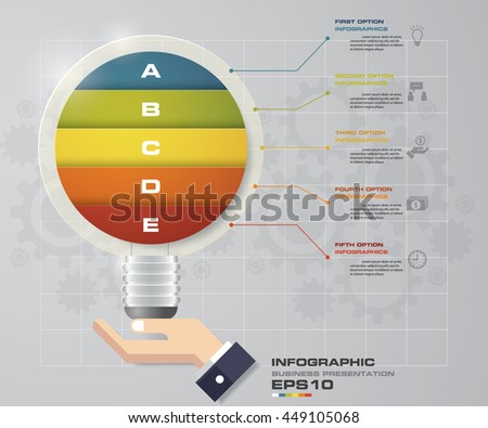 Design Business Chart  with 5 Steps Diagram in Light Bulb Shape and business man hand holding. EPS 10. - stock vector