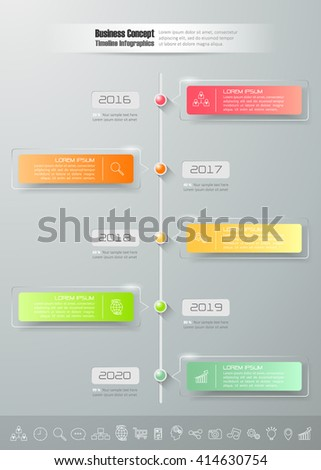 Design business timeline infographic template 5 steps, can be used for workflow layout, diagram, number options, graphic or website layout. - stock vector