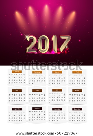 Design Calendar for 2017, background glowing element isolated on black