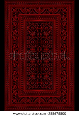Design carpet with ethnic monophonic ornament in red and burgundy shades - stock vector