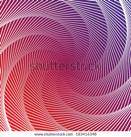 Design colorful twirl movement illusion background. Abstract strip distortion geometric backdrop. Spider web texture. Vector-art illustration - stock vector