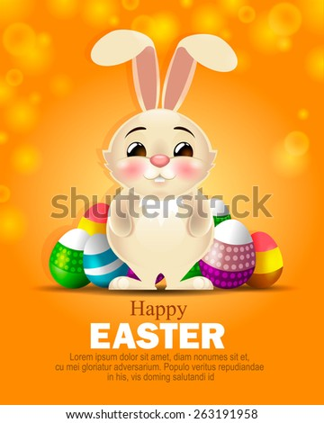 design composition on the theme of the Easter Bunny, Easter eggs decorated, beautiful background Happy Easter - stock vector