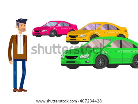 design concept of choice car and buying a car. Vector car, car cool flat, car  illustration. Vector detailed character buyer man, cool flat  illustration isolated on white background. - stock vector