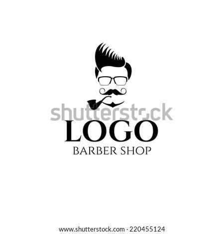 design concept of the logo, badge, label, on Barbershop men's hipster hairdresser - stock vector