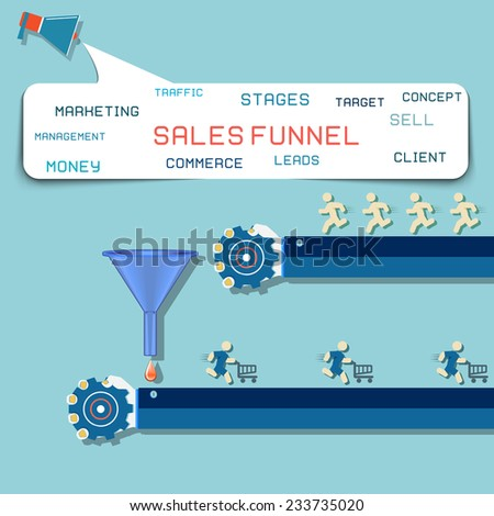 design concept Sales funnel for infographics.  Vector illustration. - stock vector