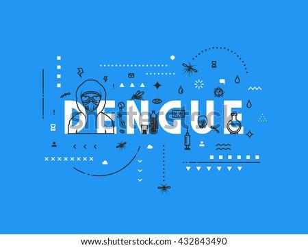 Design concept virus of dengue. Modern line style illustration. Easy to edit. - stock vector