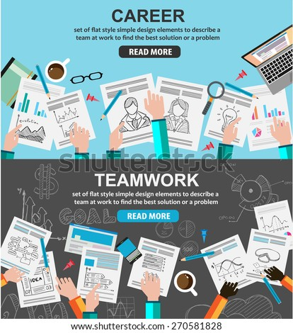 Design Concepts for team work and career, financial management or business strategy.. Ideal for corporate brochures, flyers, digital marketing, product or idea presentations, web banners and so on . - stock vector