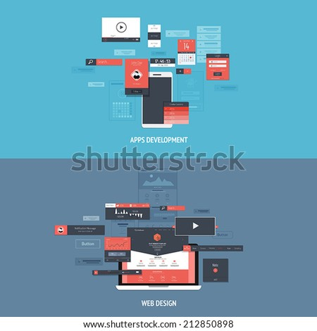 Design concepts Icons for apps development and web design. Flat style. Vector - stock vector