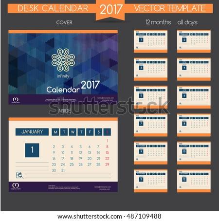 Design Desk Calendar 2016 Vector Templates Stock Vector 330870443