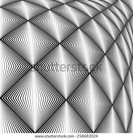 Design diamond convex texture. Abstract geometric monochrome perspective background. Vector art. No gradient - stock vector