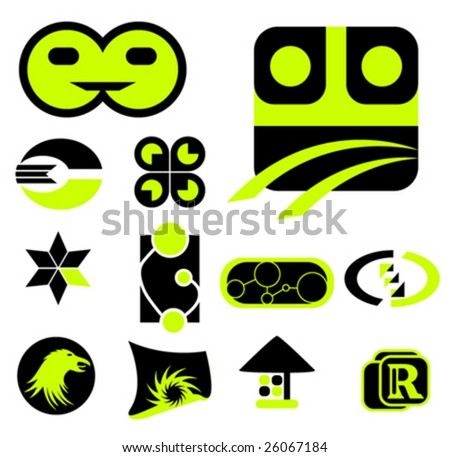 design element - black and light green - stock vector
